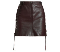 Lace-up textured-leather mini skirt