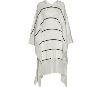 Draped striped knitted cotton dress