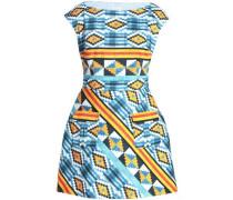 Flared printed cotton-blend mini dress