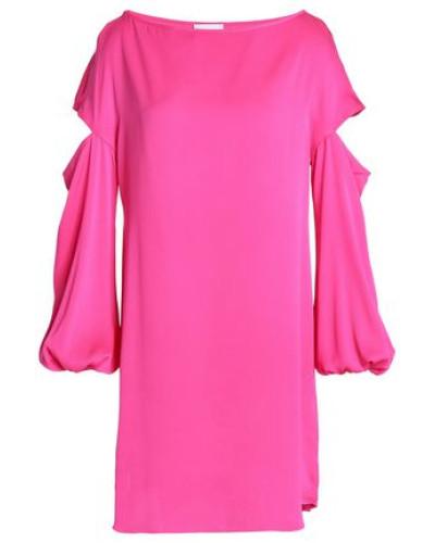 Cutout silk-blend crepe de chine mini dress