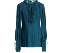 Ruffled pointelle-knit top