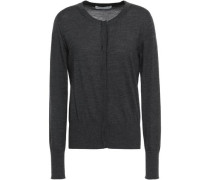 Mélange Wool, Silk And Cashmere-blend Cardigan Charcoal