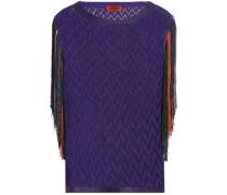 Fringe-trimmed crochet-knit top
