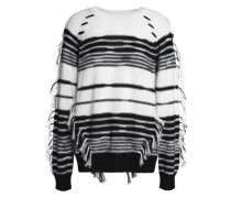 Fringe-trimmed striped knitted sweater