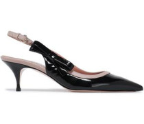 Bow-embellished Smooth And Patent-leather Slingback Pumps Black