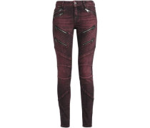 Zip-detailed low-rise skinny jeans