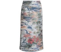 Woman Printed Jacquard Midi Pencil Skirt Sky Blue