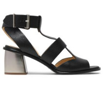 Cracked-leather Sandals Black
