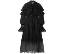 Ruffled Lace-paneled Silk-georgette Midi Dress Black Size 0