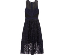 Asymmetric pleated guipure  and Leavers lace dress