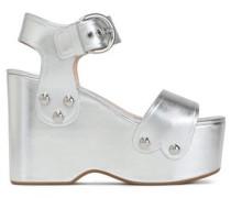 Metallic Leather Platform Wedge Sandals Silver