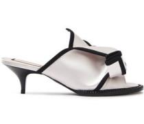 Woman Crystal-embellished Grosgrain-trimmed Satin Sandals White
