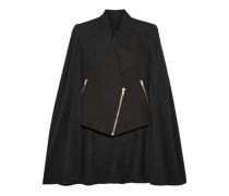 Asymmetric cotton and silk-blend crepe de chine cape