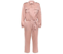 Jeter Cropped Cotton And Silk-blend Satin Jumpsuit Antique Rose