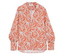 Woman Printed Silk Crepe De Chine Blouse Orange