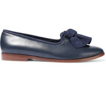 Knotted Suede-trimmed Leather Loafers Storm Blue