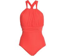 Woman Gathered Swimsuit Orange