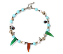 Gold-tone, Bead, Crystal, Stone And Faux Pearl Necklace Multicolor Size --