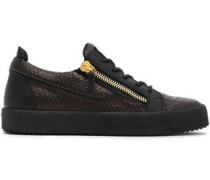 Snake-effect Leather Sneakers Black