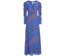 Woman Ruched Printed Crepe De Chine Maxi Dress Cobalt Blue