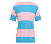 Draped Striped Jersey T-shirt Azure