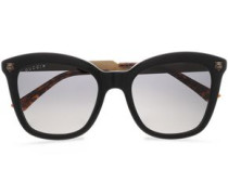 D-frame Acetate And Burnished Gold-tone Sunglasses Black Size --
