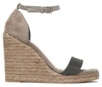 Bead-embellished suede espadrille wedge sandals