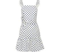Farah Ruffled Polka-dot Cotton-poplin Mini Dress White Size 0