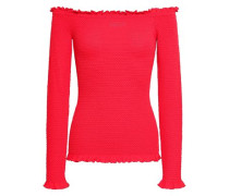 Off-the-shoulder Ruffle-trimmed Knitted Top Papaya