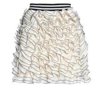Ruffled crochet-knit mini skirt