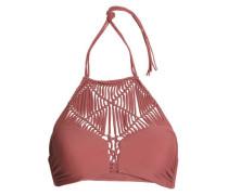 Macramé-paneled halterneck bikini top