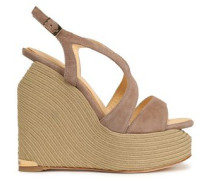 Suede wedge espadrille sandals