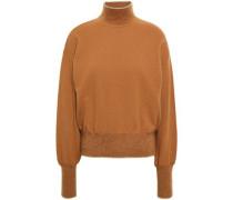 Crystal-embellished Wool And Cashmere-blend Turtleneck Sweater Camel