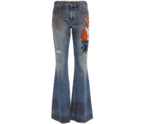 Embroidered Mid-rise Flared Jeans Mid Denim  8