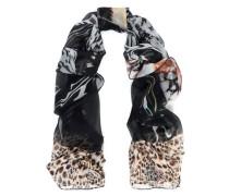 Embellished printed silk-chiffon scarf