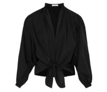 Knotted Cotton-poplin Blouse Black