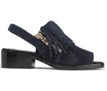 Alexa fringed suede slingback sandals