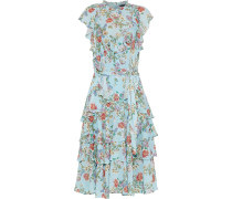 Woman Sully Tiered Belted Floral-print Georgette Dress Sky Blue
