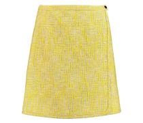 Wrap-effect cotton-blend bouclé mini skirt
