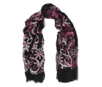 Frayed printed modal and silk-blend scarf