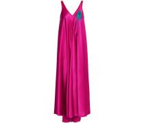 Appliquéd Satin-crepe Maxi Dress Bright Pink