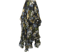 Ruffled Floral-print Silk-georgette Midi Skirt Black
