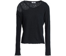 Cutout distressed cotton-jersey top