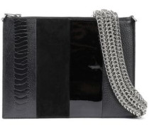 Woman Paneled Suede, Snake-effect, Patent And Textured-leather Pouch Black