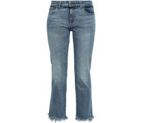 Mara Frayed Mid-rise Straight-leg Jeans Mid Denim  6