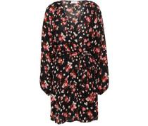 Floral-print Silk-crepe Mini Wrap Dress Midnight Blue