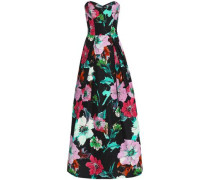 Ava Strapless Floral-print Cotton-blend Faille Gown Black Size 0