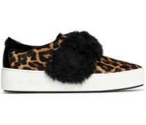 Faux fur-trimmed leopard-print calf hair slip-on sneakers