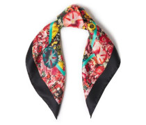 Woman Floral-print Silk-satin Twill Scarf Black