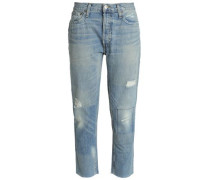 Distressed Cropped Mid-rise Straight-leg Jeans Light Denim  6